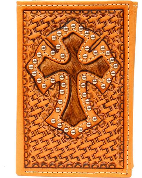 Hair-On-Hide Cross Inlay Basketweave Tri-Fold Wallet, Tan, hi-res