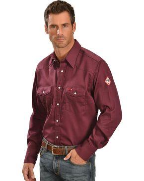 Wrangler Men's FR Lightweight Sateen Work Shirt, Burgundy, hi-res