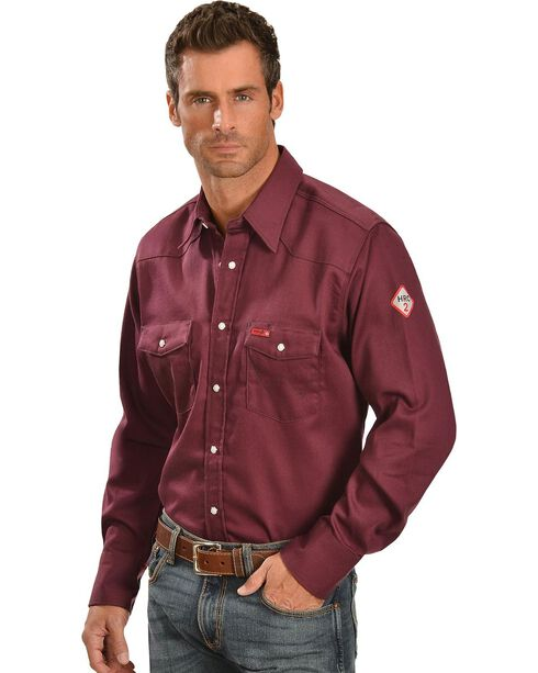 Wrangler Men's FR Lightweight Sateen Work Shirt, Burgundy, hi-res