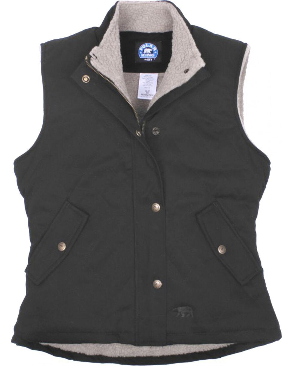 Key Women's Black Sherpa Lined Twill Vest, Black, hi-res