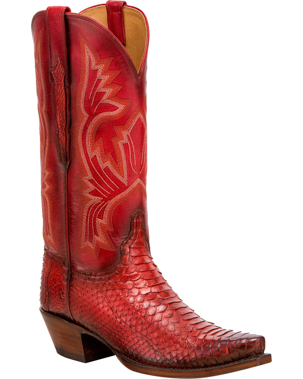 Lucchese Women's Handmade Red Juliette Python Western Boots - Snip Toe, Red, hi-res