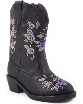 Roper Infant's Cracked Glitter Western Boots, Black, hi-res