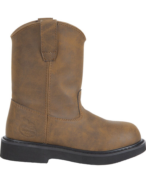 Georgia Boys' Pull-On Work Boots, Brown, hi-res