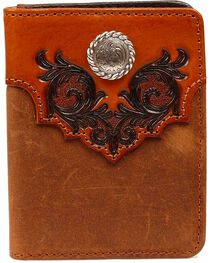 Nocona Embossed Leather Overlay with Concho Bi-Fold Wallet, , hi-res