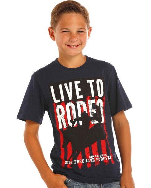 Panhandle Boys' Rodeo Short Sleeve T-Shirt, Black, hi-res