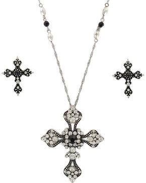 Shyanne® Women's Vintage Cross Jewelry Set, Silver, hi-res