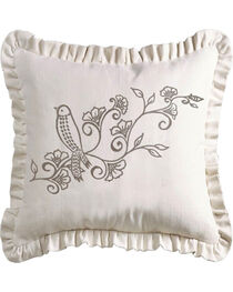 HiEnd Accents Gramercy White Linen Weave Ruffled Pillow with Embroidery Detail, , hi-res