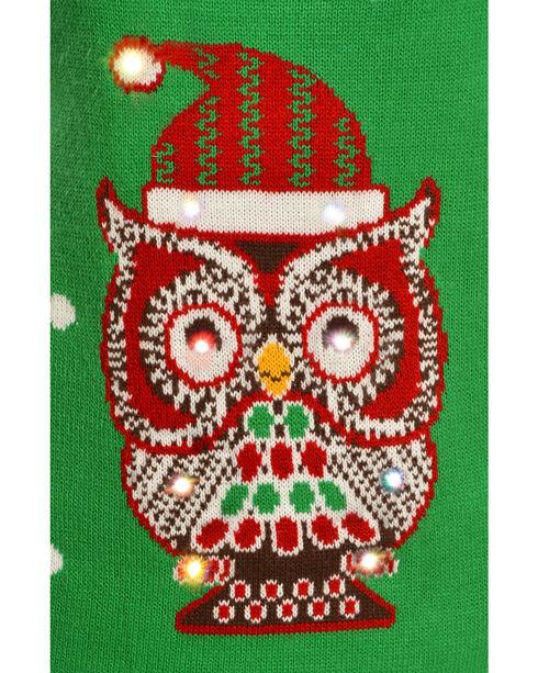 Lisa International Christmas Owl Light Up Sweater Vest, Green, hi-res
