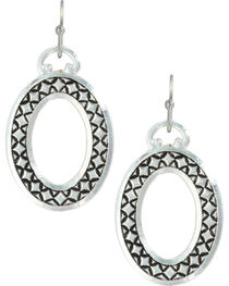 Montana Silversmiths Women's Simply Stitched Oval Earrings , , hi-res