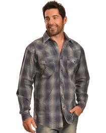 Crazy Cowboy Men's Vintage Blue Plaid Snap Shirt, , hi-res