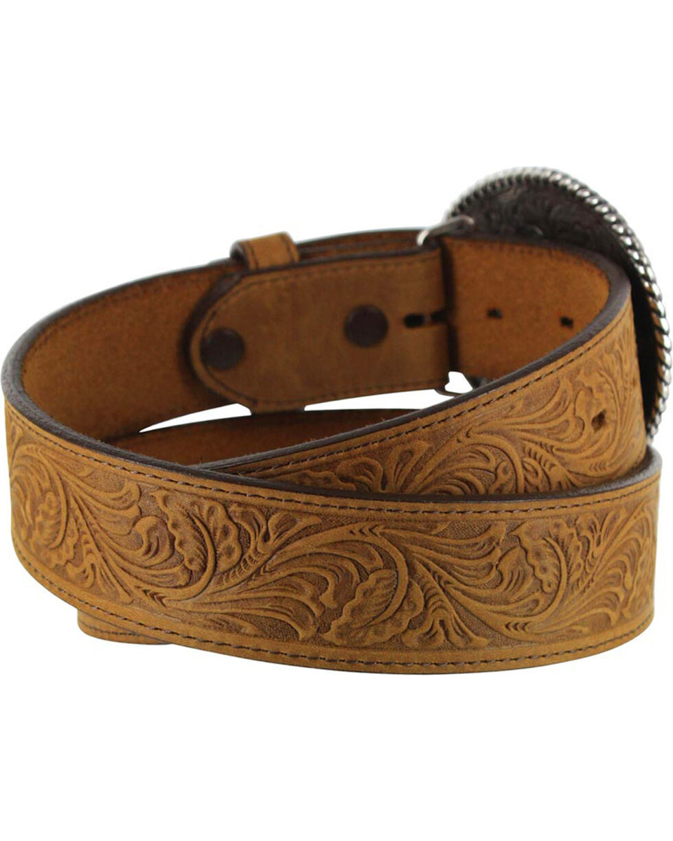 Justin Men's Floral Leather Trophy Belt , Brown, hi-res