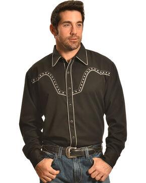 Crazy Cowboy Men's Black Stitched Western Snap Shirt , Black, hi-res