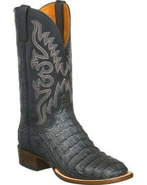 Lucchese Men's Fisher Hornback Caiman Leather Horseman Boots - Square Toe, Black, hi-res