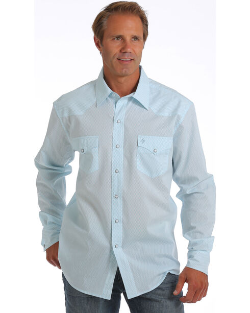 Cinch Men's Garth Brooks Tonal Long Sleeve Shirt, Light Blue, hi-res