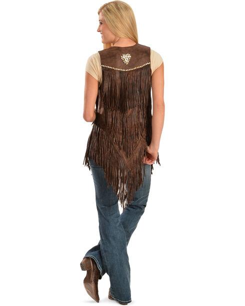Kobler Leather Women's Yucaipa Fringe & Rhinestone Leather Vest, Brown, hi-res