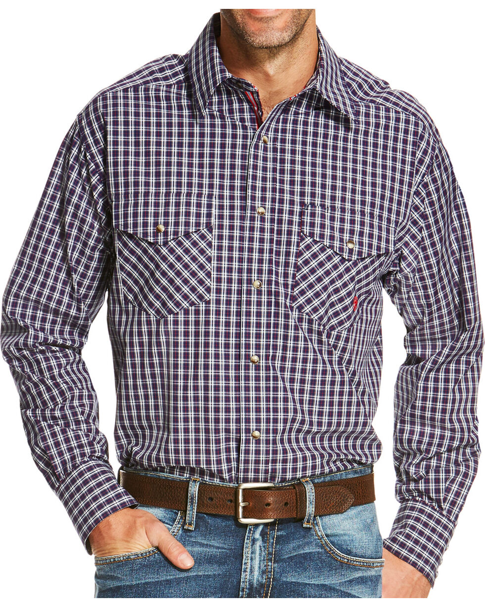 Ariat Men's Blue Ravendale Long Sleeve Snap Shirt , Blue, hi-res