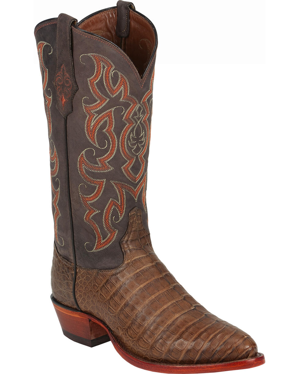 """Tony Lama Men's Super Exotic 13"""" Vintage Belly Caiman Western Boots, Chocolate, hi-res"""