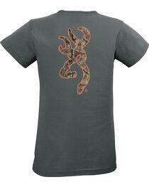 Browning Women's Realtree Xtra Buckmark Charcoal Short Sleeve Tee, Charcoal Grey, hi-res