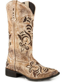 Roper Women's Belle Tan Antiqued Brushed Suede Cowgirl Boots - Square Toe, , hi-res