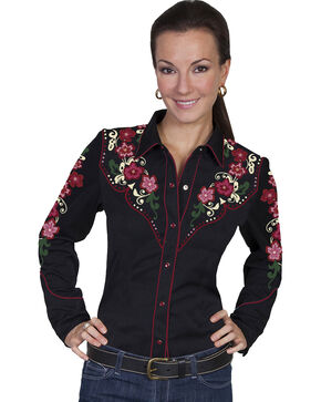 Scully Women's Floral Embroidered Western Blouse, Black, hi-res