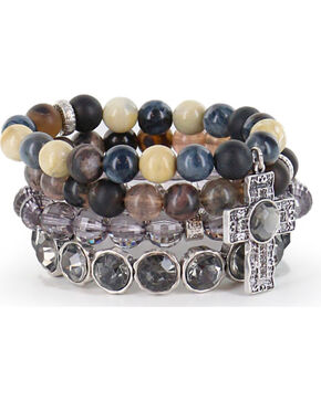 Shyanne® Women's Multi-layered Faith Bracelets, Silver, hi-res