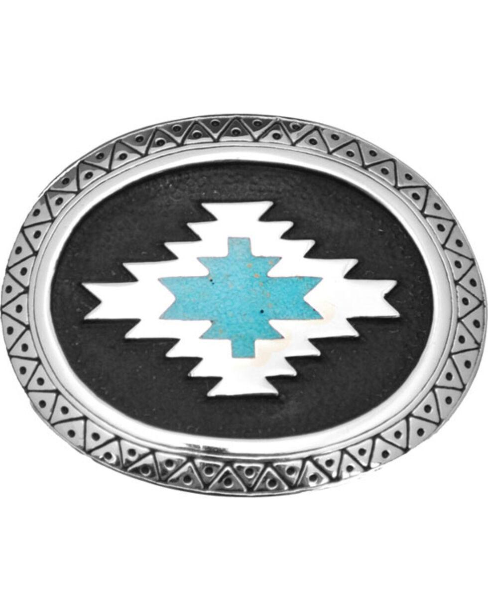 Western Express Women's Silver Aztec Belt Buckle , Silver, hi-res