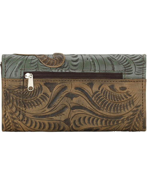 American West Women's Hand Tooled Tri-Fold Wallet, , hi-res
