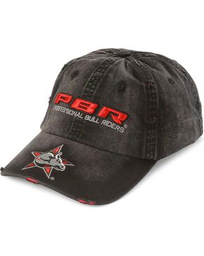 Distressed PBR Logo Cap, Black, hi-res