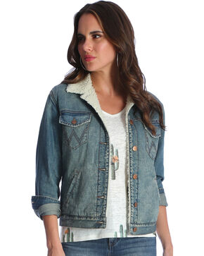 Wrangler Women's Sherpa Denim Jacket, Indigo, hi-res