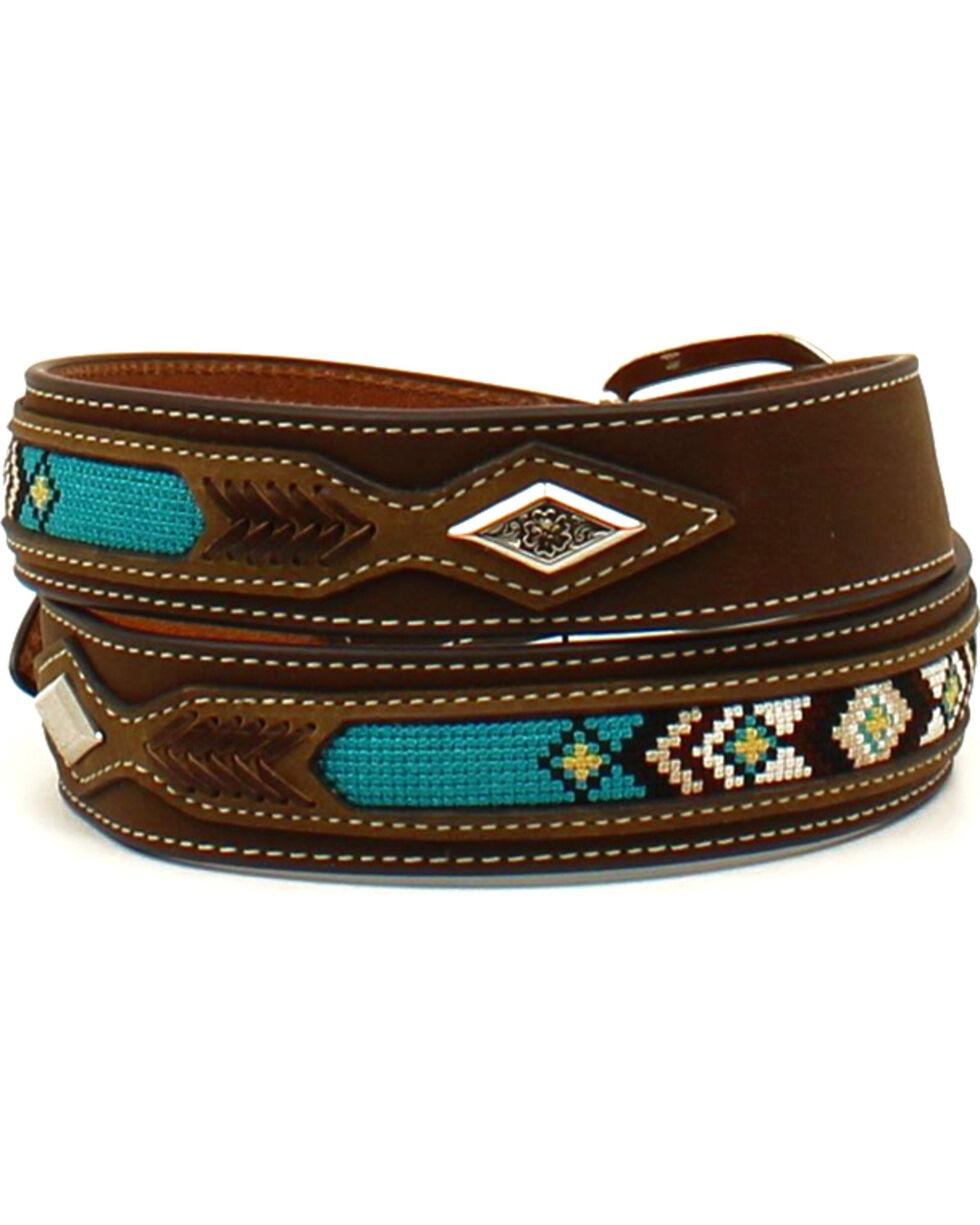Nocona Men's Leather Ribbon Overlay Western Belt , Brown, hi-res
