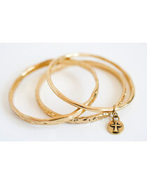 West & Co. Women's Set of 3 Burnished Gold Bangle Bracelets, , hi-res