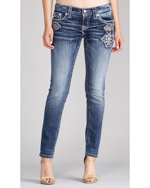 Miss Me Women's Indigo Embroidered White Stone Jeans - Skinny , Indigo, hi-res
