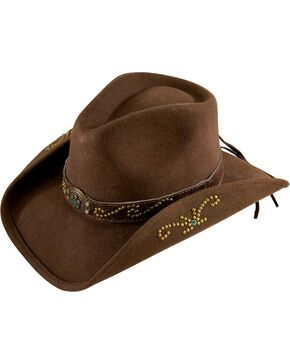 Bullhide Kids' Studded Wool Hat, Brown, hi-res