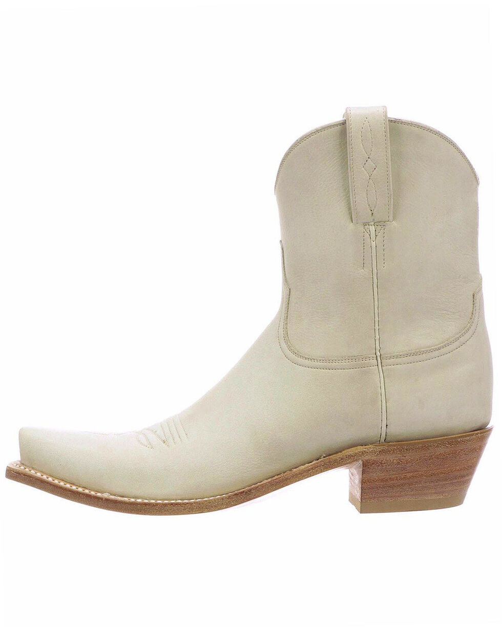 Lucchese Women's Gaby Glitz Cream Cowhide Western Short Boots - Snip Toe , Taupe, hi-res
