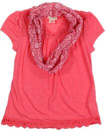 Self Esteem Girls' Crochet Lace Trim Tee and Scarf, , hi-res