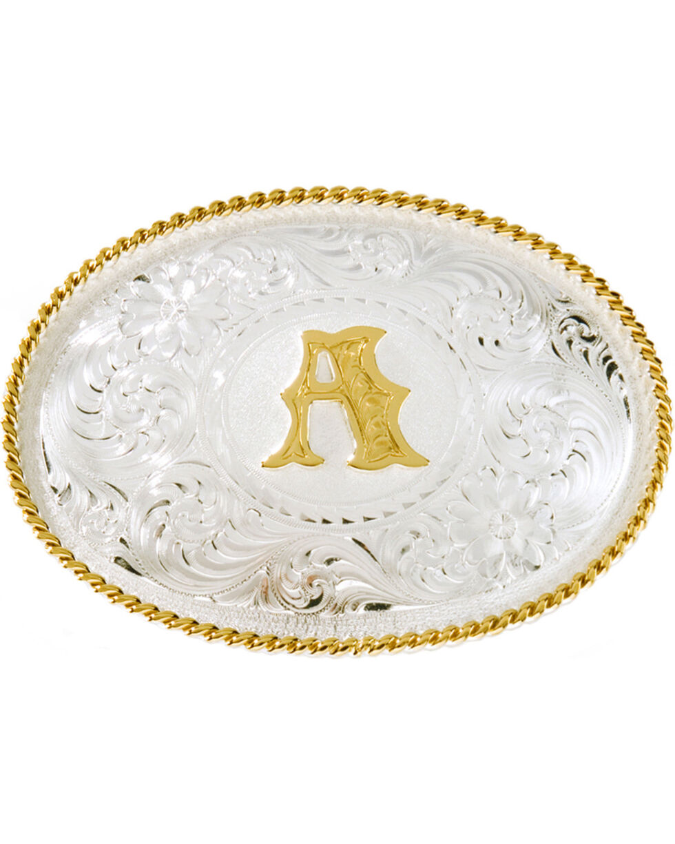 Montana Silversmiths Initial A Western Buckle, Silver, hi-res