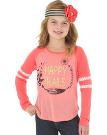 Wrangler Girls' Long Sleeve Happy Trails Tee, , hi-res