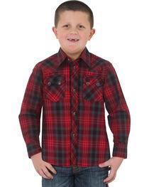 Wrangler Boys' Red Retro Vintage Plaid Shirt , , hi-res