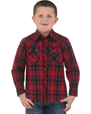 Wrangler Boys' Red Retro Vintage Plaid Shirt , Red, hi-res