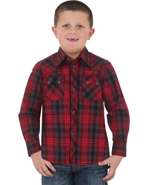 Wrangler Boys' Red Retro Vintage Plaid Shirt , Red, hi-res