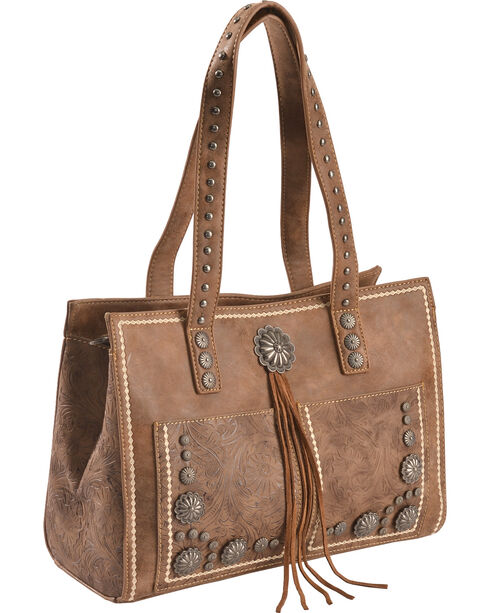 Shyanne Women's Brown Tooled Tassel Tote, Brown, hi-res