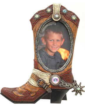 """Western Moments Cowboy Boot Photo Frame - 4"""" x 6"""", Brown, hi-res"""
