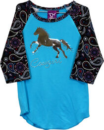 Cowgirl Hardware Girls' Paisley Print Foil Horse Raglan Tee, Pink, hi-res