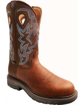 Twisted X Pebble Brown Lite Weight Cowboy Work Boots - Composite Toe, Brown, hi-res