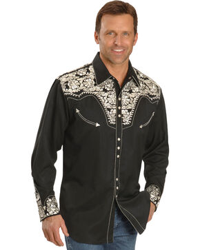 Scully Men's Silver Embroidered Gunfighter Shirt - Big, Silver, hi-res