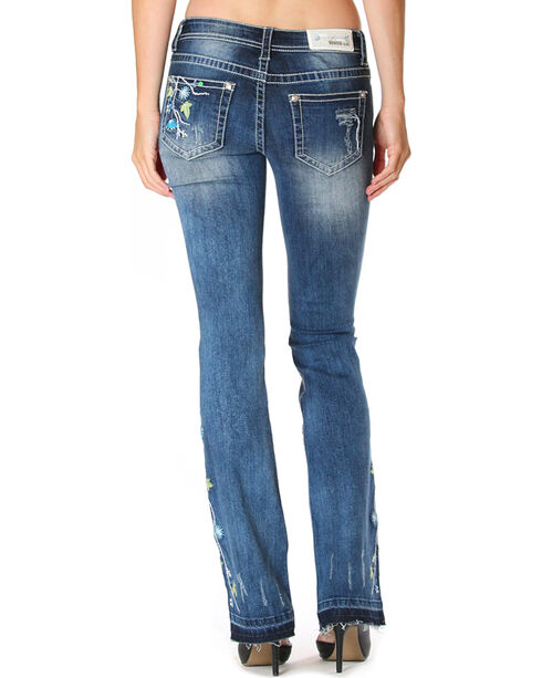 Grace in LA Women's Blue Floral Garden Boot Cut Jean with Released Hem, Medium Blue, hi-res