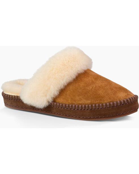 UGG Women's Fur Trimmed Slippers, Chestnut, hi-res