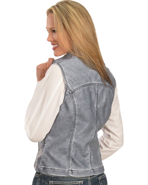 Erin London Women's Gray Faux Leather Vest, Blue, hi-res