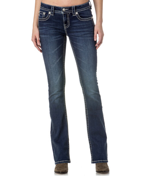Miss Me Women's Indigo Embellished Pocket Jeans - Boot Cut , Indigo, hi-res