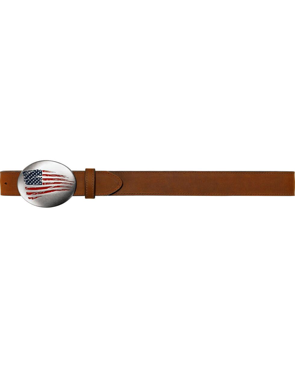 Justin Men's Old Glory Leather Belt , Brown, hi-res